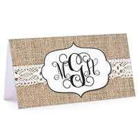 Tiny Note Burlap & Lace Monogram 4