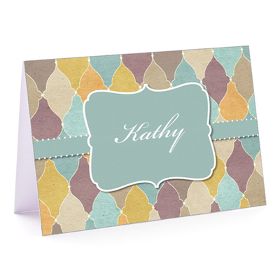 Tuscan Tiles Teal Fold-Over Note Card