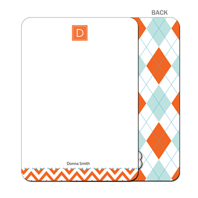 Fire & Ice Argyle - Flat Notecard