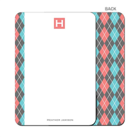 Argyle Betty - Coral - Flat Note Card