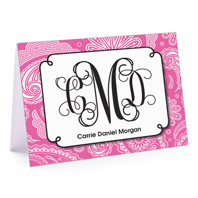Paisley Monogram Pink Fold-Over Note Card