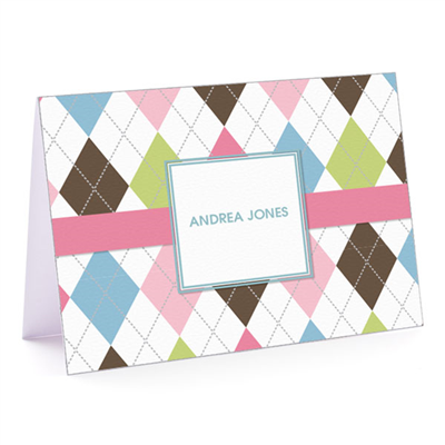Argyle Connie Pink & Blue Fold-over Note Card
