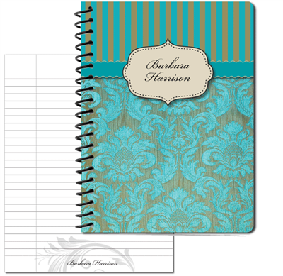 Turquoise Vintage Pattern 2 Large Personal Journal