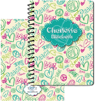 Peace Love Doodle - Turquoise -  Large Journal