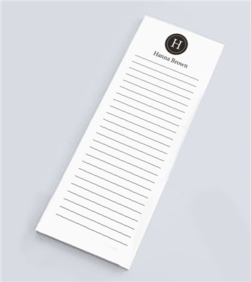 Simple Monogram Skinny Notepad