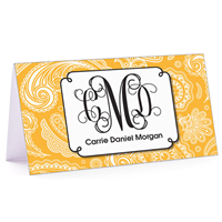 Tiny Note Paisley Monogram Gold