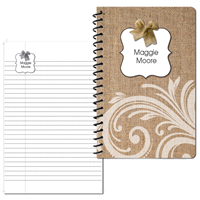 Burlap Bow Small Personal Journal