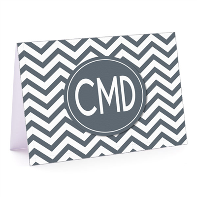 Modern Chevron Gray Fold-Over Note Card