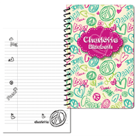 Peace Love Doodle - Pink - Small Journal