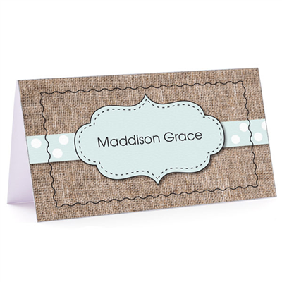 Tiny Note Burlap Fun Blue