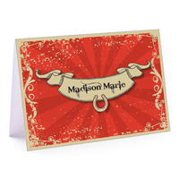 Red Vintage Fold-Over Note Card
