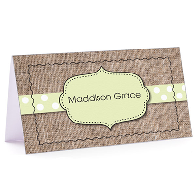 Tiny Note Burlap Fun Green