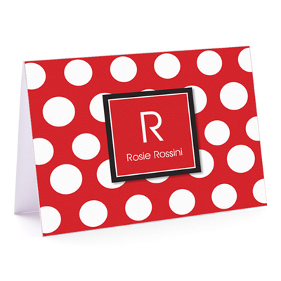 Big Red White Polka Fold-Over Note Card