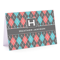Argyle Betty Gray Fold-Over Note Card