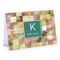 Patchwork Squares Green Fold-Over Note Card