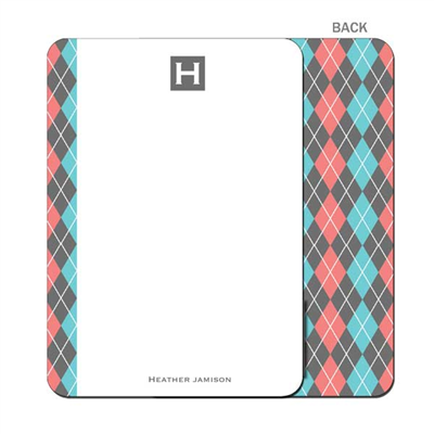 Argyle Betty - Gray - Flat Note Card