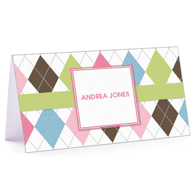 Tiny Note Argyle Connie - Green and Pink