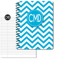 Modern Chevron Cyan Large Personal Journal