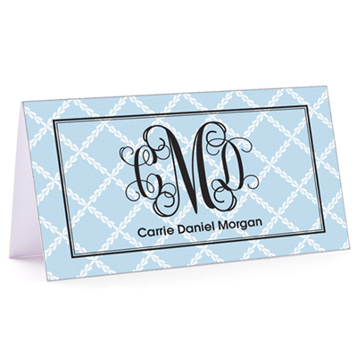 Tiny Note Lattice Monogram Powder Blue