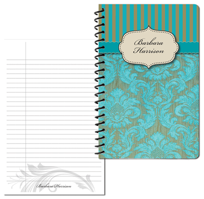Turquoise Vintage Pattern 2 Small Personal Journal