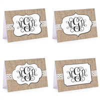 Burlap & Lace Monogram Set Fold-Over Note Card