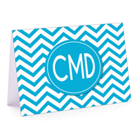 Modern Chevron Cyan Fold-Over Note Card