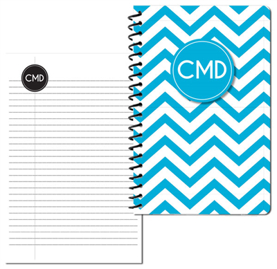 Modern Chevron Cyan Small Personal Journal