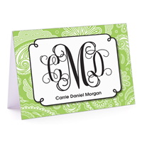 Paisley Monogram Green Apple Fold-Over Note Card