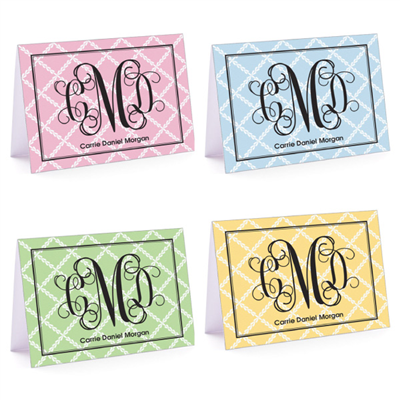 Lattice Monogram Set Fold Over Note Card