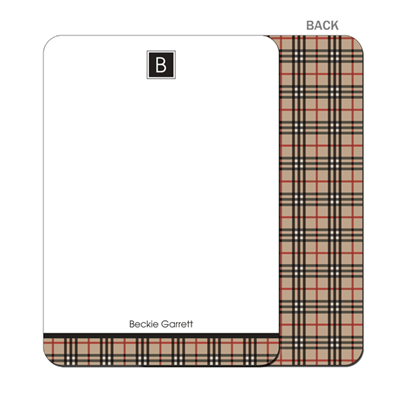 The BeeBerry Plaid - Flat Notecard