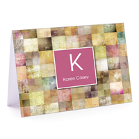 Patchwork Squares Pink Fold-Over Note Card