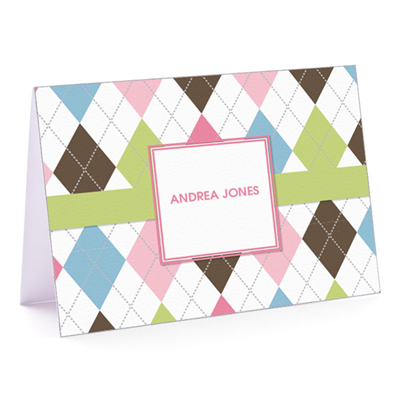 Argyle Connie Green & Pink Fold Over Note Card