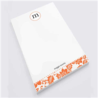 Orange Flower Print Notepad