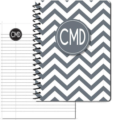 Modern Chevron Gray Large Personal Journal