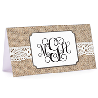 Tiny Note Burlap & Lace Monogram 1