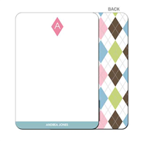 Argyle Connie Pink & Blue Flat Notecard