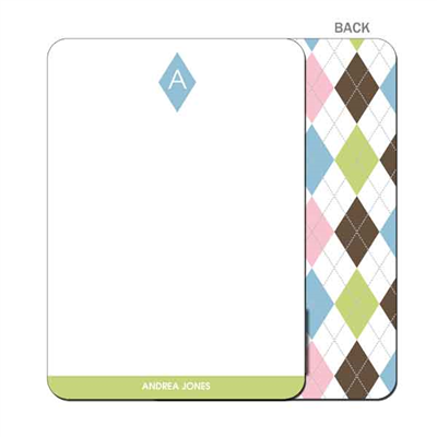 Argyle Connie Blue & Green Flat Note Card