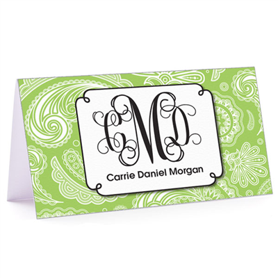 Tiny Note Paisley Monogram Green Apple