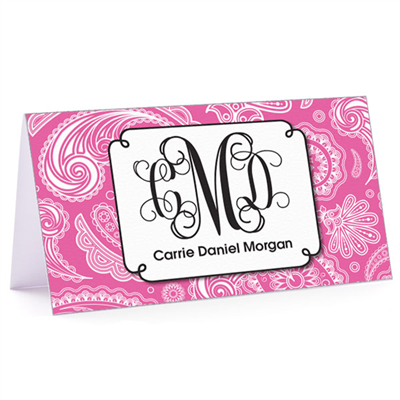 Tiny Note Paisley Monogram Pink
