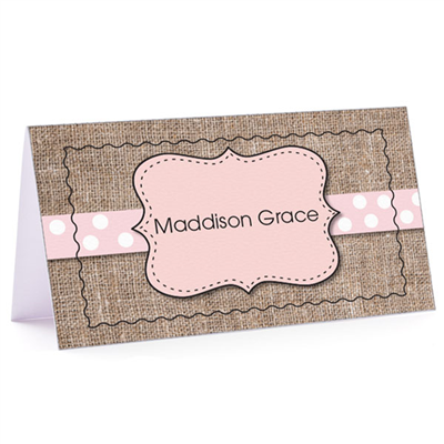 Tiny Note Burlap Fun Pink