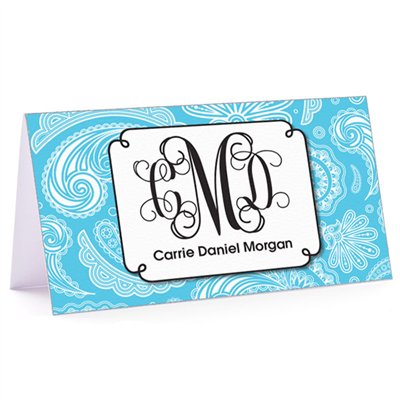 Tiny Note Paisley Monogram Aqua