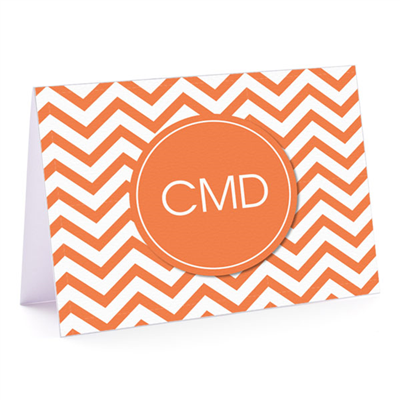Modern Chevron Orange Fold-Over Note Card