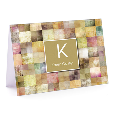 Patchwork Squares Tan Fold-Over Note Card