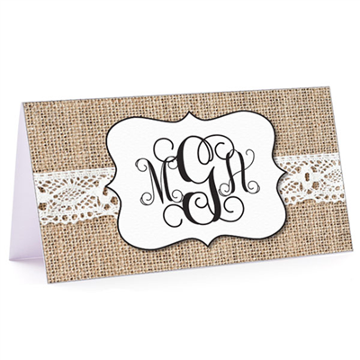 Tiny Note Burlap & Lace Monogram 3