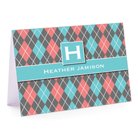 Argyle Betty Turquoise Fold-Over Note Card