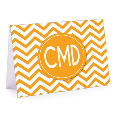 Modern Chevron Gold Fold-Over Note Card