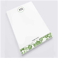Green Flower Print Notepad