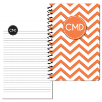 Modern Chevron Orange Small Personal Journal
