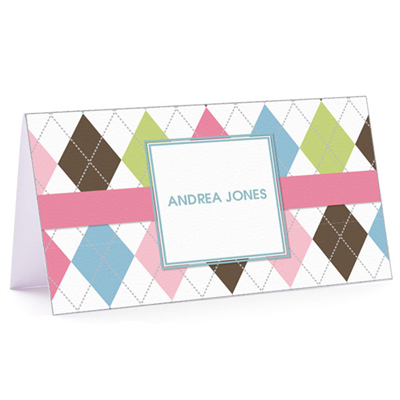 Tiny Note Argyle Connie - Pink & Blue