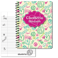 Peace Love Doodle - Pink- Large Journal